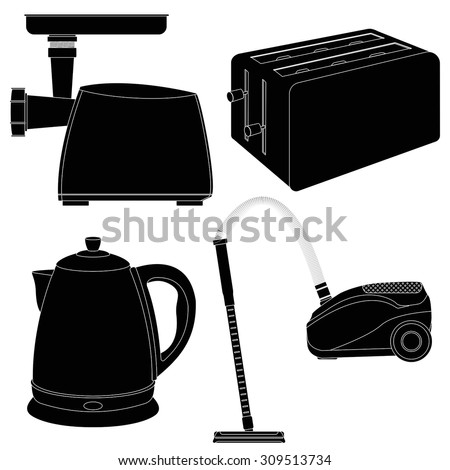 Toaster, Vacuum cleaner, Electric kettle, Electric meat grinder. Vector illustration isolated on white background - stock vector