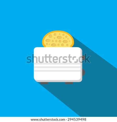 Toaster with bread flat icon with long shadow. Vector illustration eps10. - stock vector