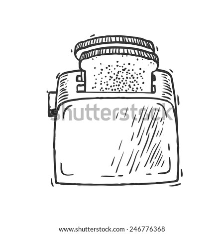 Toaster with bread. Hand drawn doodle style isolated vector art illustration icon. - stock vector