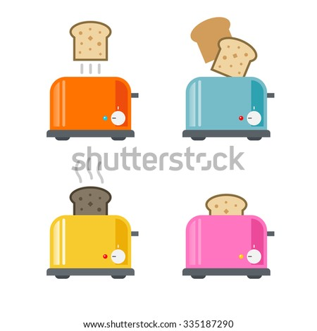 Toasters icons. Vector illustration in flat style - stock vector