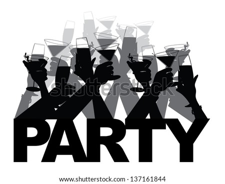 Toasting Hands Party Silhouette Design Element. EPS 10 vector, grouped for easy editing. No open shapes or paths. - stock vector