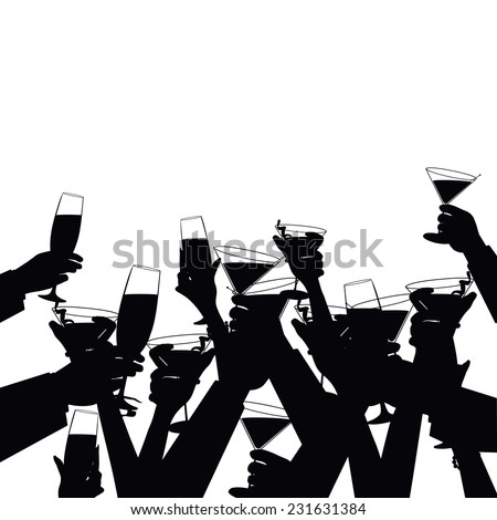 toasting hands silhouette background EPS 10 vector illustration - stock vector