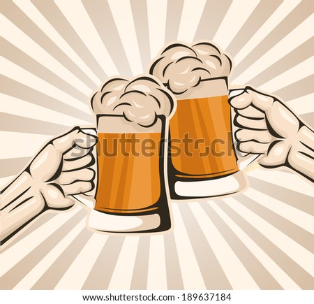 Toasting with beer - stock vector
