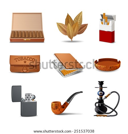 Tobacco decorative realistic icon set with cigars cigarette pack ash tray isolated vector illustration - stock vector