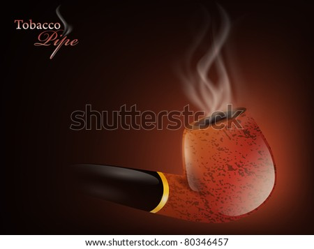 Tobacco pipe with smoke over dark background - stock vector