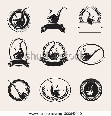 Tobacco pipes labels set. Vector - stock vector