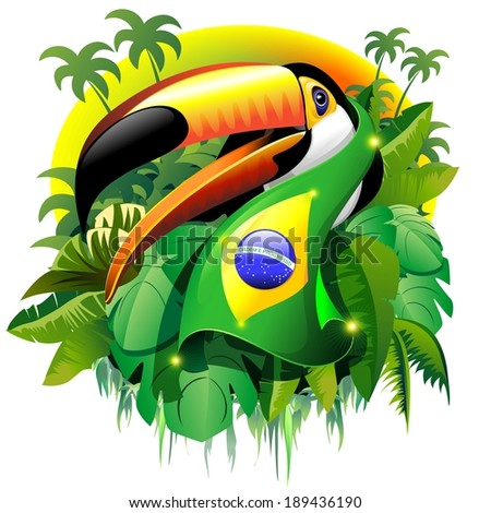 Toco Toucan with Brazil Flag - stock vector