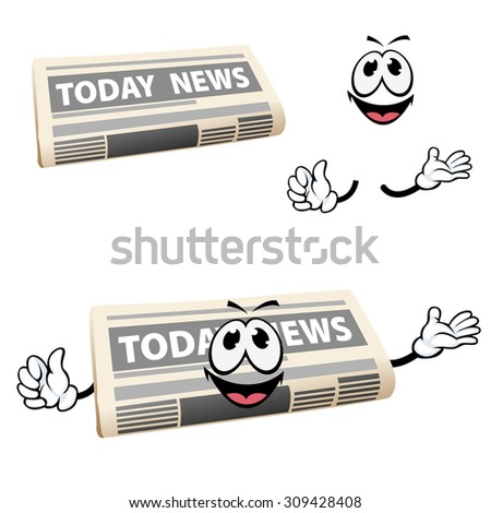 Today news newspaper cartoon character with happy smiling face and hands, for media or advertisement design - stock vector