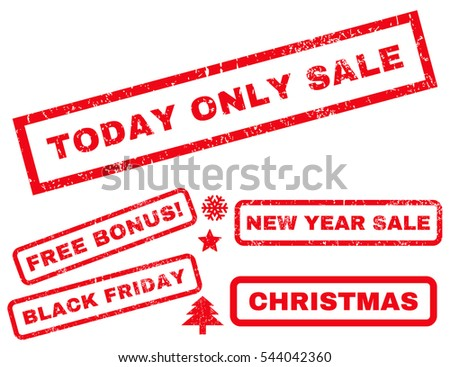 Today Only Sale rubber seal stamp watermark with bonus design elements for Christmas and New Year sales. Text inside rectangular banner with grunge design and dirty texture. Vector red stickers.