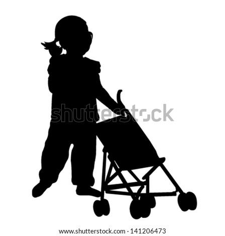 toddler playing with  stroller toy silhouette