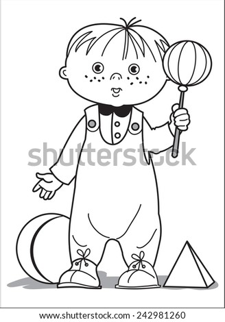 Toddler toys. Little boy in the crawler and shirt holding rattle. Near the ball and pyramid. Coloring page - stock vector