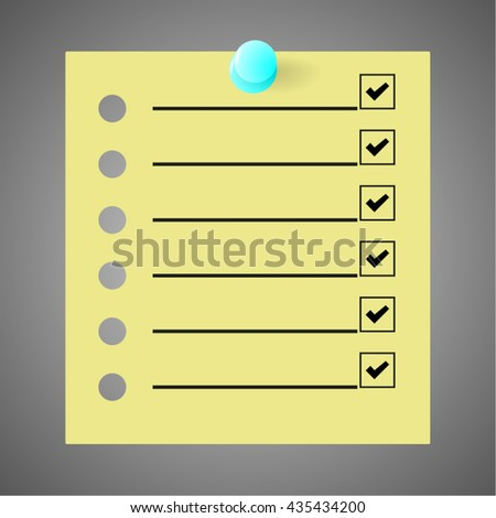 Todo list - Classic yellow post is notes with pin and mark. Vector - stock vector