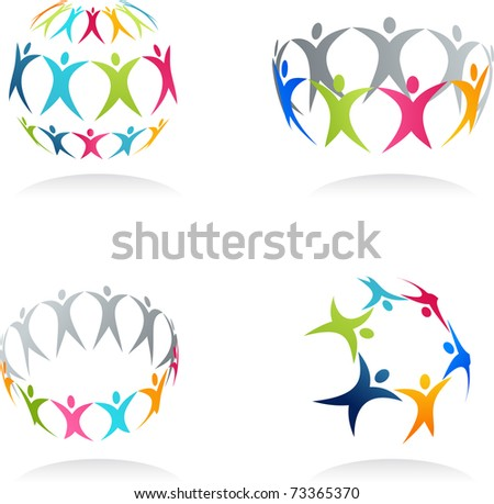 Together - conceptual human icons - stock vector