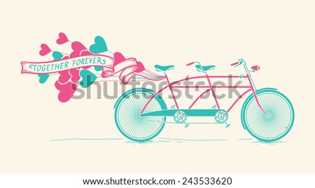 Together forever - vintage Illustration of tandem bicycle with hearts balloons over white background - stock vector