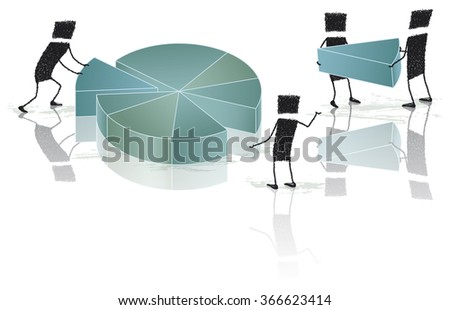 Together is better. Several stick figures work together to create a pie chart. EPS10 file. - stock vector