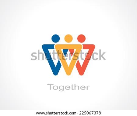 together symbol. template logo design. vector eps8 - stock vector