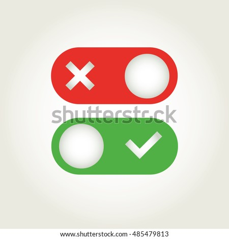 Toggle switch icon, on, off position