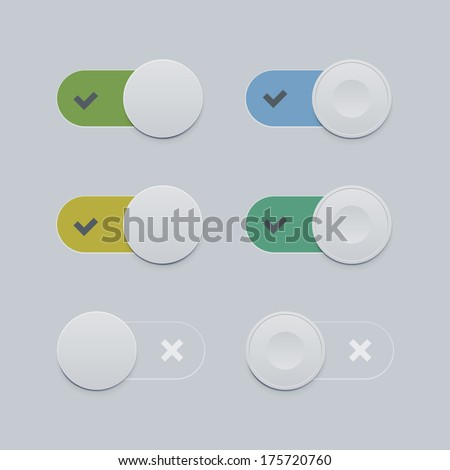 Toggle switch set. Flat style - stock vector