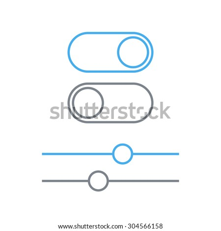 Toggle switches and sliders outline icon, On and Off position vector simple icons. Toggle switch and slider linear symbol, modern minimal flat design style, user interface - stock vector
