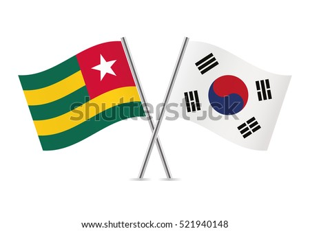 Togo and South Korea flags. Vector illustration.