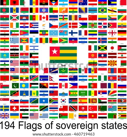 Togo, collection of vector images of flags of the world