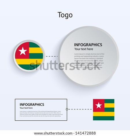 Togo Country Set of Banners on gray background for Infographic and Presentation. Vector illustration.