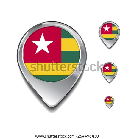 Togo flag map pointer. 3d Map Pointer with flag glossy button style on gray background - stock vector