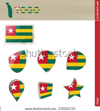 Togo Flag Set, Flag Set #65. Vector.