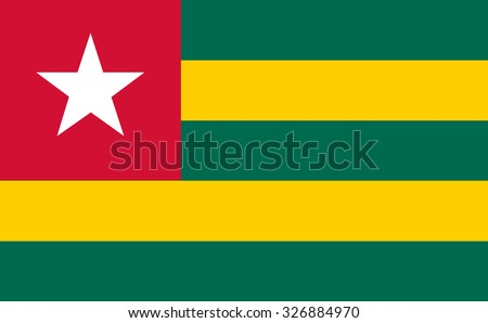 Togo Flag vector in official colors and Proportion Correctly - stock vector