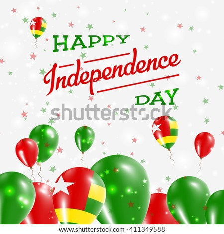 Togo Independence Day Patriotic Design. Balloons in National Colors of the Country. Happy Independence Day Vector Greeting Card.