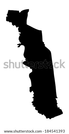 Togo vector map silhouette isolated on white background. High detailed.