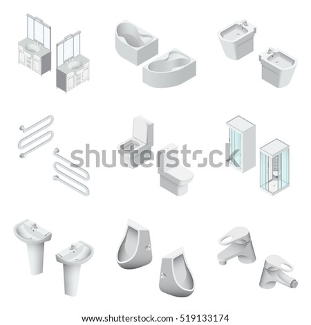 Toilet And Bathroom sanitary engineering realistic Isometric Vector Illustration Created For Mobile, Web, Decor, Print Products, Application on white background