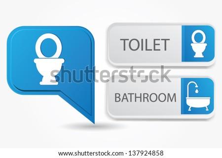 Toilet and bathroom,vector - stock vector