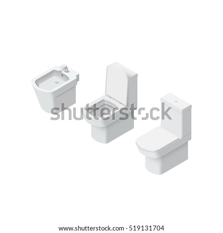 Toilet and bidet realistic Isometric Vector Illustration Created For Mobile, Web, Decor, Print Products, Application on white background