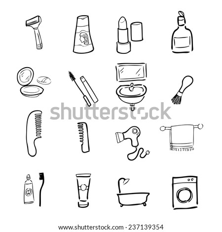 Toilet and cosmetic drawing icons set - stock vector