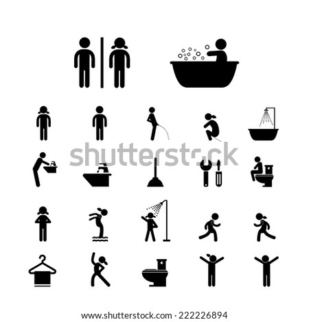 toilet and hygiene icons set   - stock vector