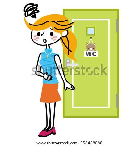 Toilet and women. - stock vector