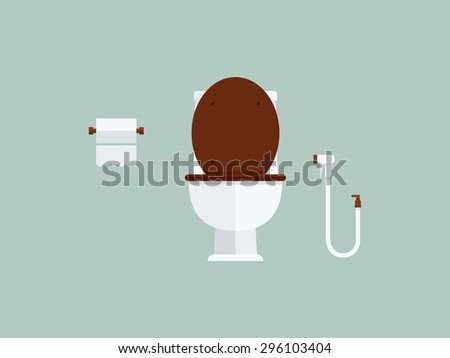 Toilet bowl and toilet paper