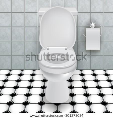 Toilet bowl in a modern bathroom. Vector illustration - stock vector
