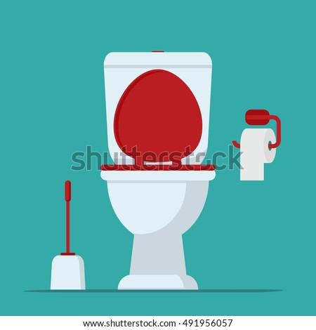 Toilet bowl  toilet paper and brush for toilet bowl  Vector illustration. Toilet Stock Images  Royalty Free Images   Vectors   Shutterstock
