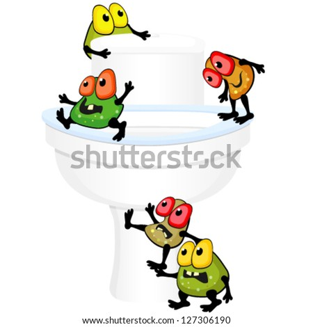 Toilet bowl with germs - stock vector
