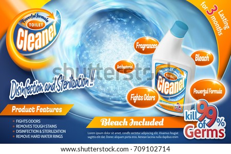 Toilet cleaner ads, powerful detergent product with blue flushing liquid and bubbles in 3d illustration