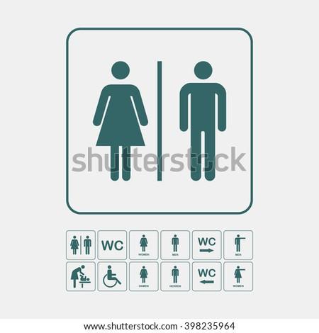 Toilet door/wall plate. Original WC icons set. WC Toilet icon.  WC Toilet icon image. WC Toilet icon picture. WC Toilet icon vector. WC Toilet icon sign.  WC Toilet icon flat.  WC Toilet icon art. - stock vector