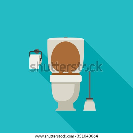 Toilet flat illustration with toilet paper and toilet brush. - stock vector