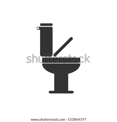 Toilet icon flat  Illustration isolated on white background  Vector grey  sign symbol. Toilet Icon Stock Images  Royalty Free Images   Vectors   Shutterstock