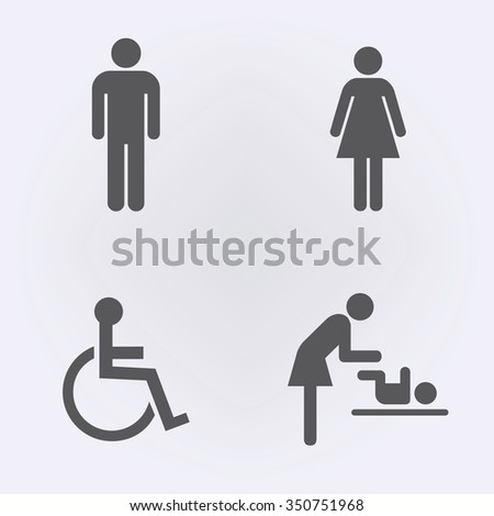 Toilet icon set   People icon   Vector illustration. Vector Restroom Icons Lady Man Child Stock Vector 366757247