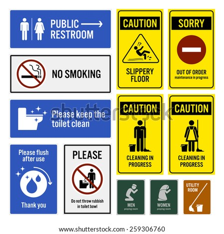 Toilet Notice and Restroom Warning Sign Signboards - stock vector