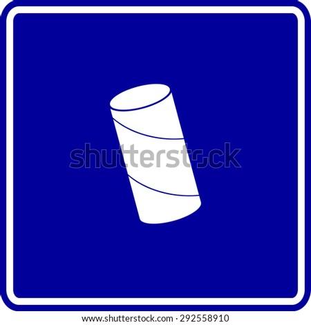 toilet paper tube sign - stock vector