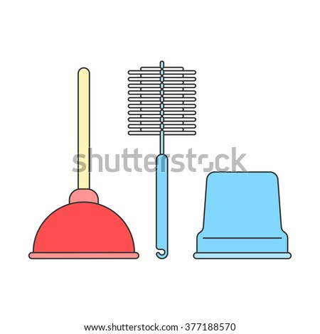 Toilet plunger and brush isolated on a white background. Cleaning, the concept of the sign. Vector illustration of flat line style for the design of your web site and print - stock vector