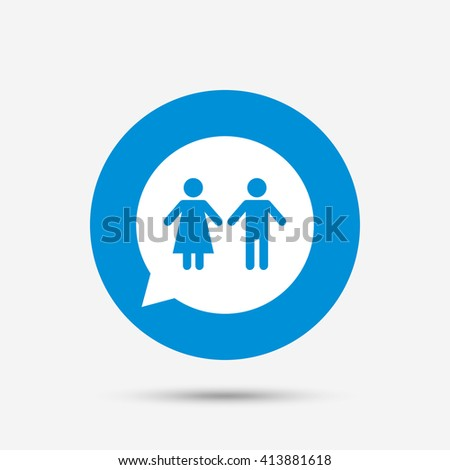 Toilet sign icon. Restroom or lavatory speech bubble symbol. Blue circle button with icon. Vector